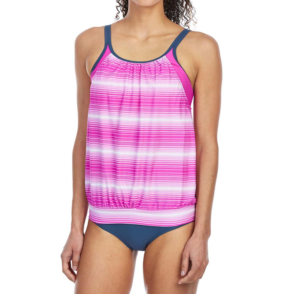 FREE COUNTRY Women's Sunbeam Stripe Blouson Tankini Top - RASPBERRY/SLATE
