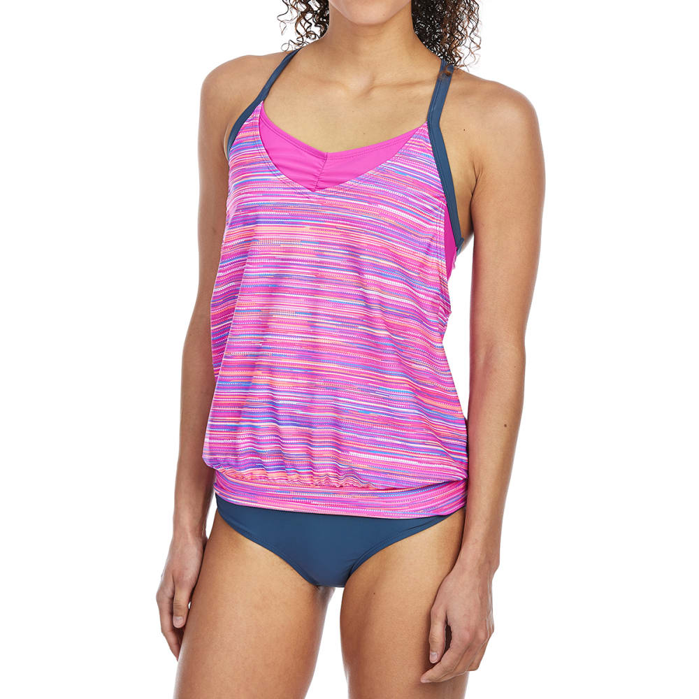 FREE COUNTRY Women's Sunset Strip Blouson Tankini Top - RASPBERRY/SLATE