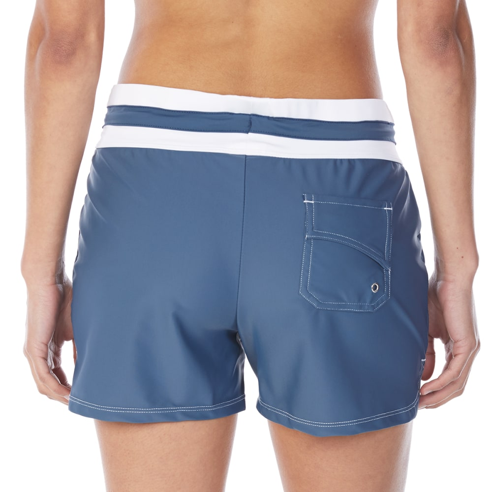 FREE COUNTRY Women's Drawstring Swim Shorts - SLATE/WHITE