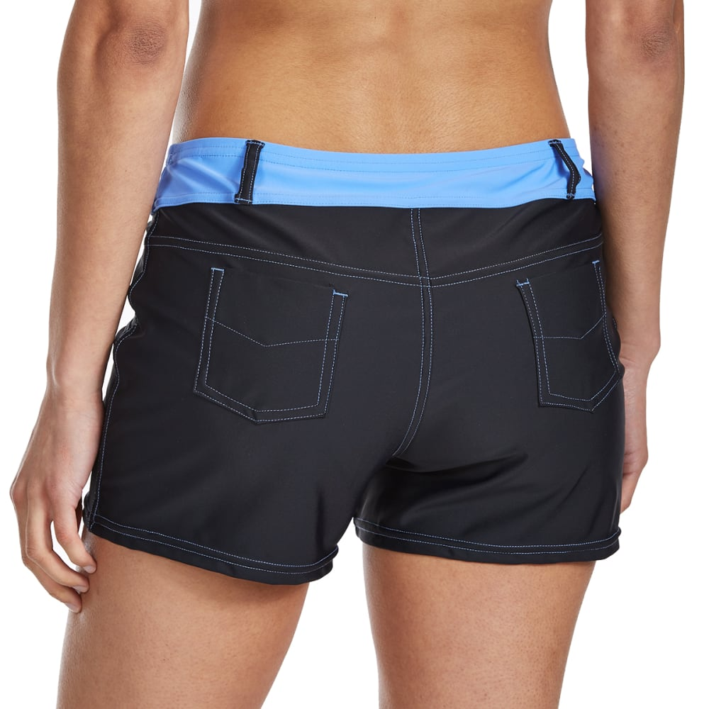 FREE COUNTRY Women's Jean Swim Shorts - BLACK/MIST BLUE