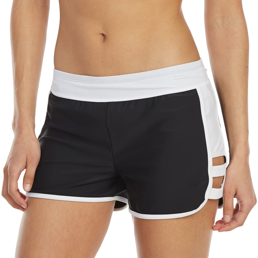 FREE COUNTRY Women's Double Strap Swim Short - BLACK/WHITE
