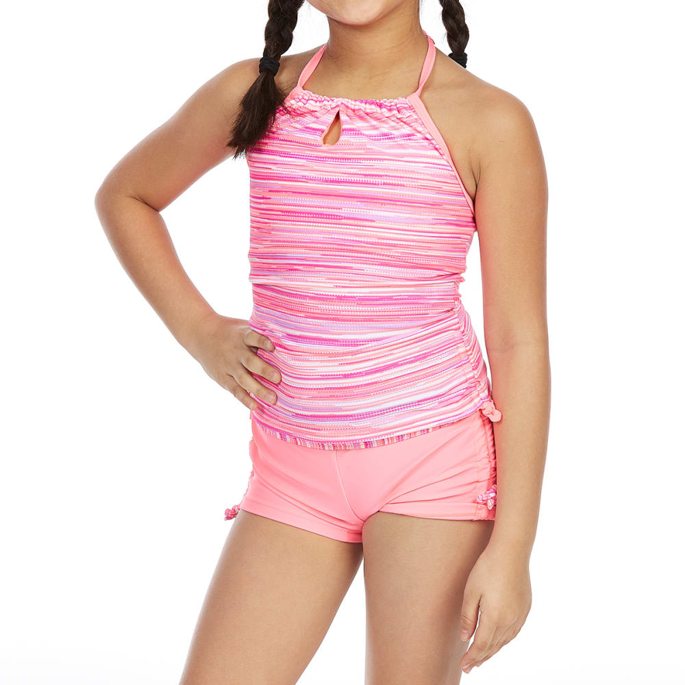 FREE COUNTRY Little Girls' Striped Adjustable Halter Neck Tankini Set - ULTRAVIOLET