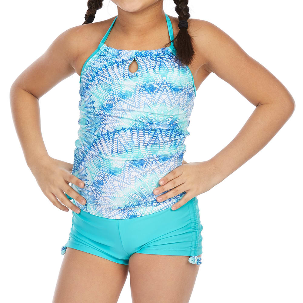 FREE COUNTRY Little Girls' Dream Catcher Adjustable Halter Neck Tankini Set - JADE LAGOON