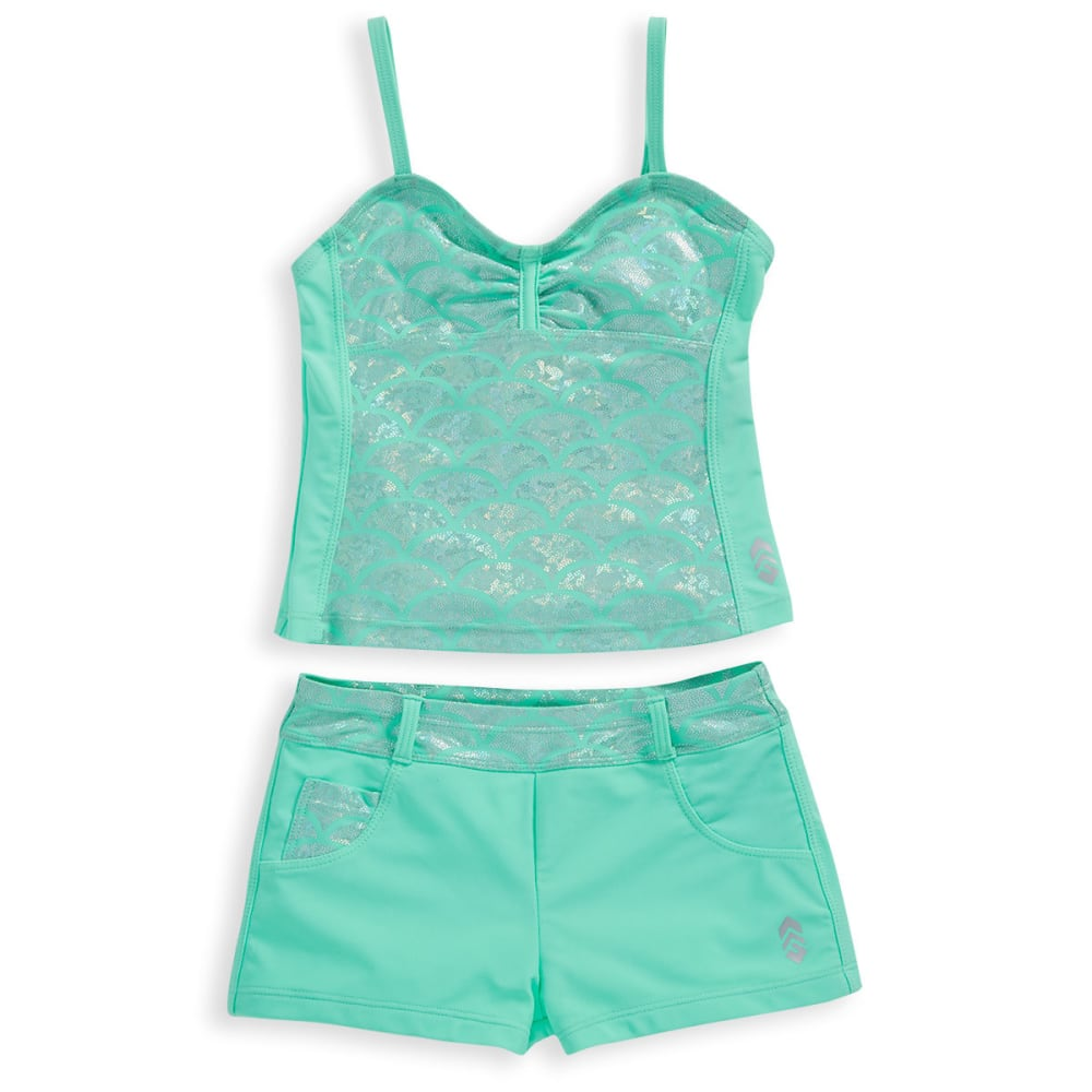 FREE COUNTRY Little Girls' Shiny Seashell Bandeaux Tankini Set - MINT