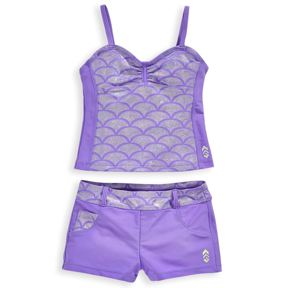 FREE COUNTRY Little Girls' Shiny Seashell Bandeaux Tankini Set - ULTRAVIOLET