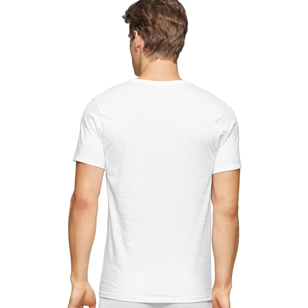 CALVIN KLEIN Men's Classic Slim V-Neck Short-Sleeve Undershirts, 3 Pack - WHITE-100