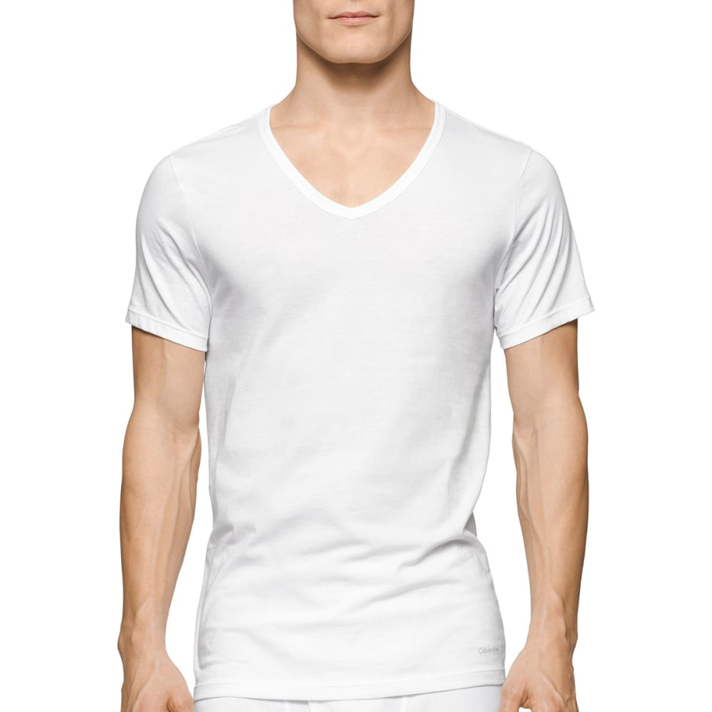 CALVIN KLEIN Men's Classic Slim V-Neck Short-Sleeve Undershirts, 3 Pack - WHITE-100