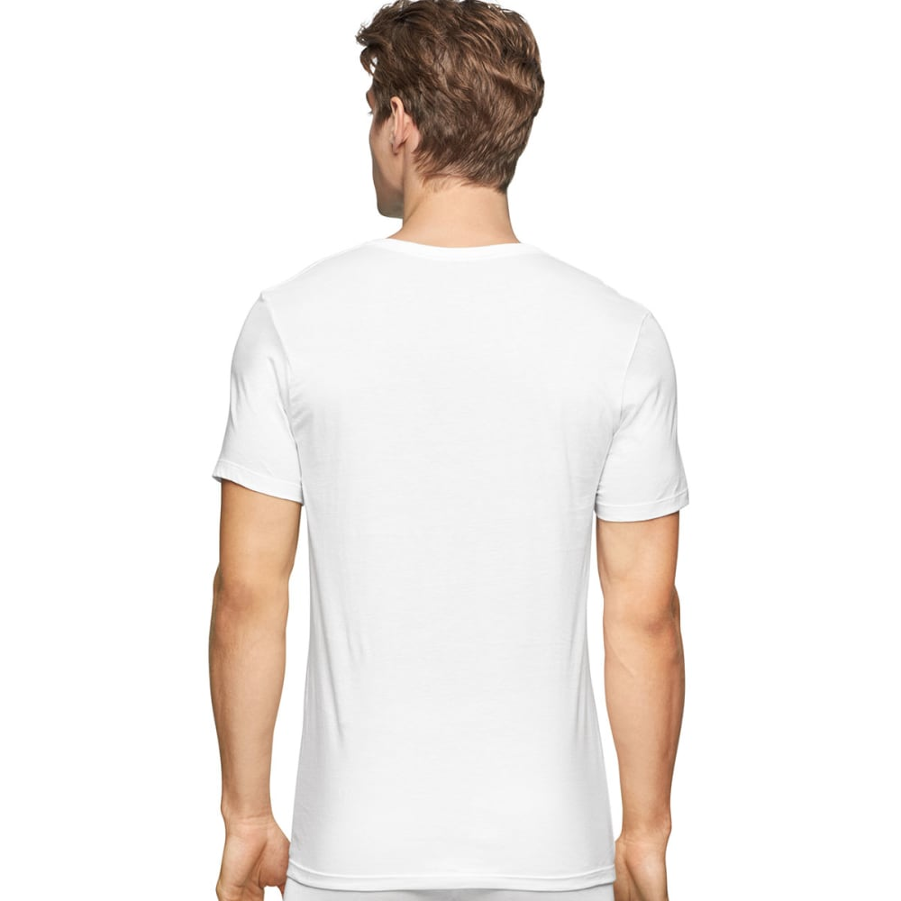 CALVIN KLEIN Men's Classic Slim Crew Short-Sleeve Undershirts, 3 Pack - WHITE-100