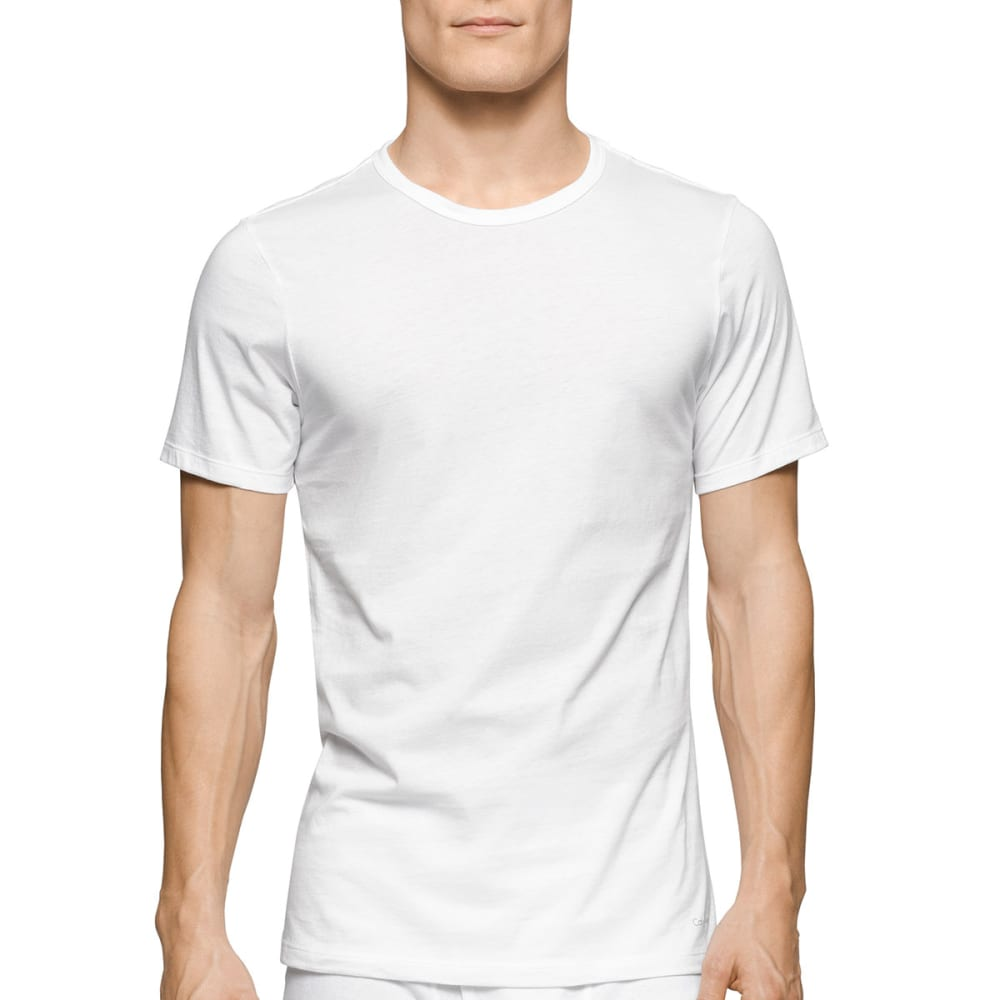 Calvin Klein Men's Classic Slim Crew Short-Sleeve Undershirts, 3 Pack - White, S
