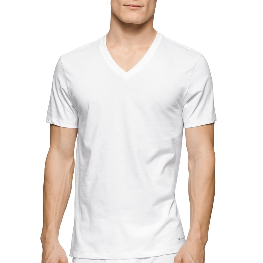 CALVIN KLEIN Men's Stretch Classic V-Neck Short-Sleeve Undershirts, 2 Pack - WHITE-100