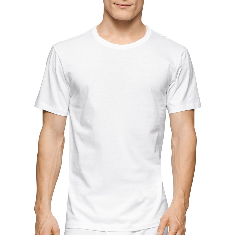 Calvin Klein Men's Stretch Classic Crew Short-Sleeve Undershirts, 2 Pack - White, S