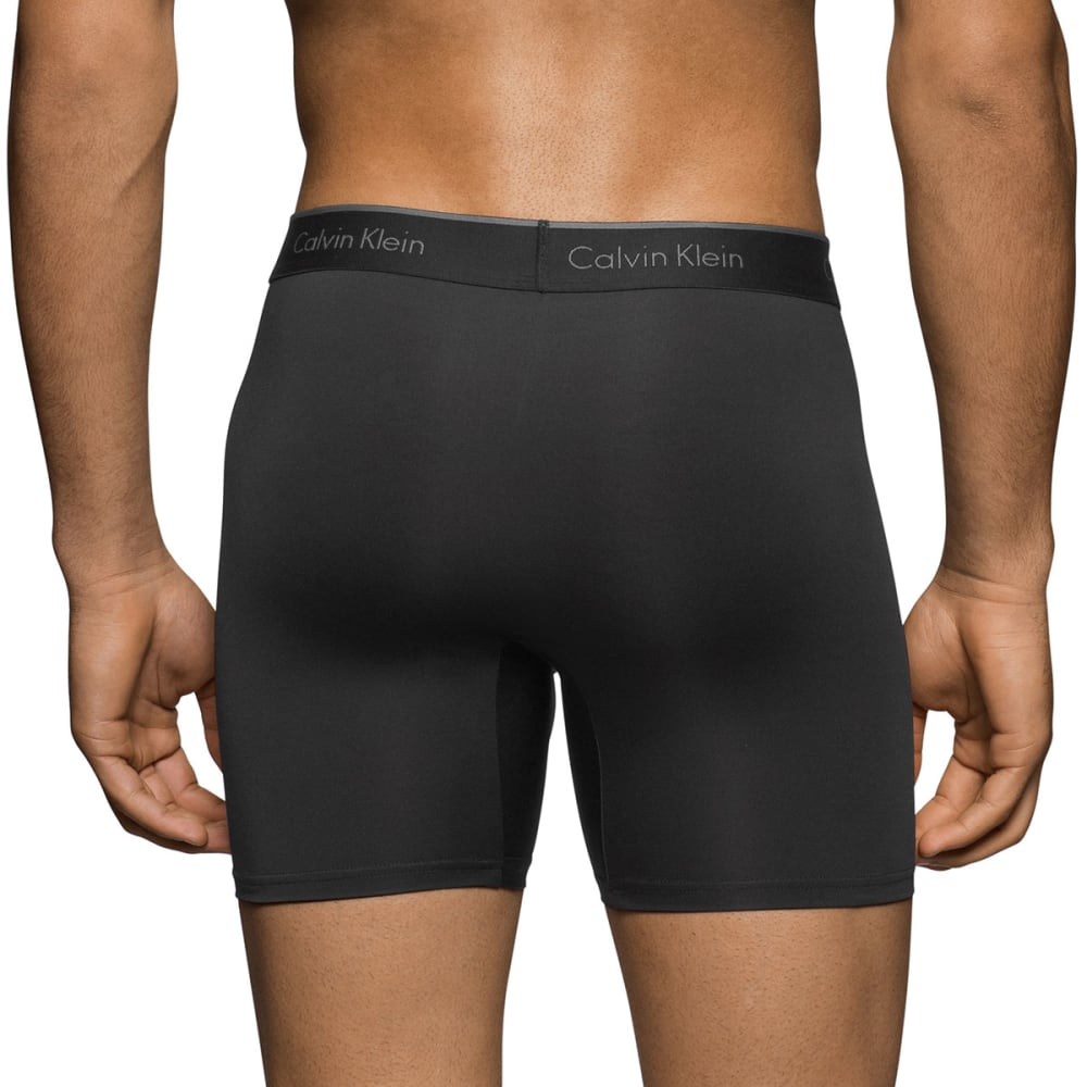 CALVIN KLEIN Men's Stretch Microfiber Boxer Briefs, 3 Pack - BLACK-001