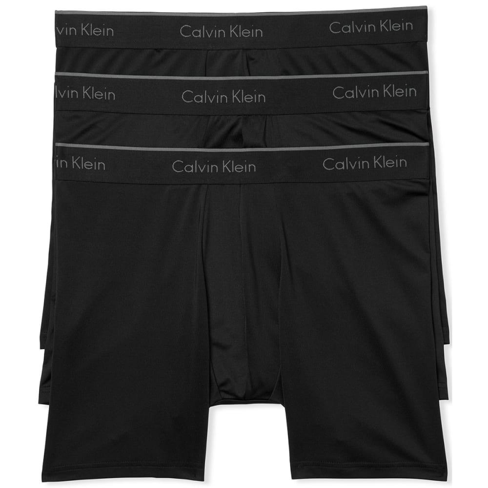 CALVIN KLEIN Men's Stretch Microfiber Boxer Briefs, 3 Pack - BLACK-001