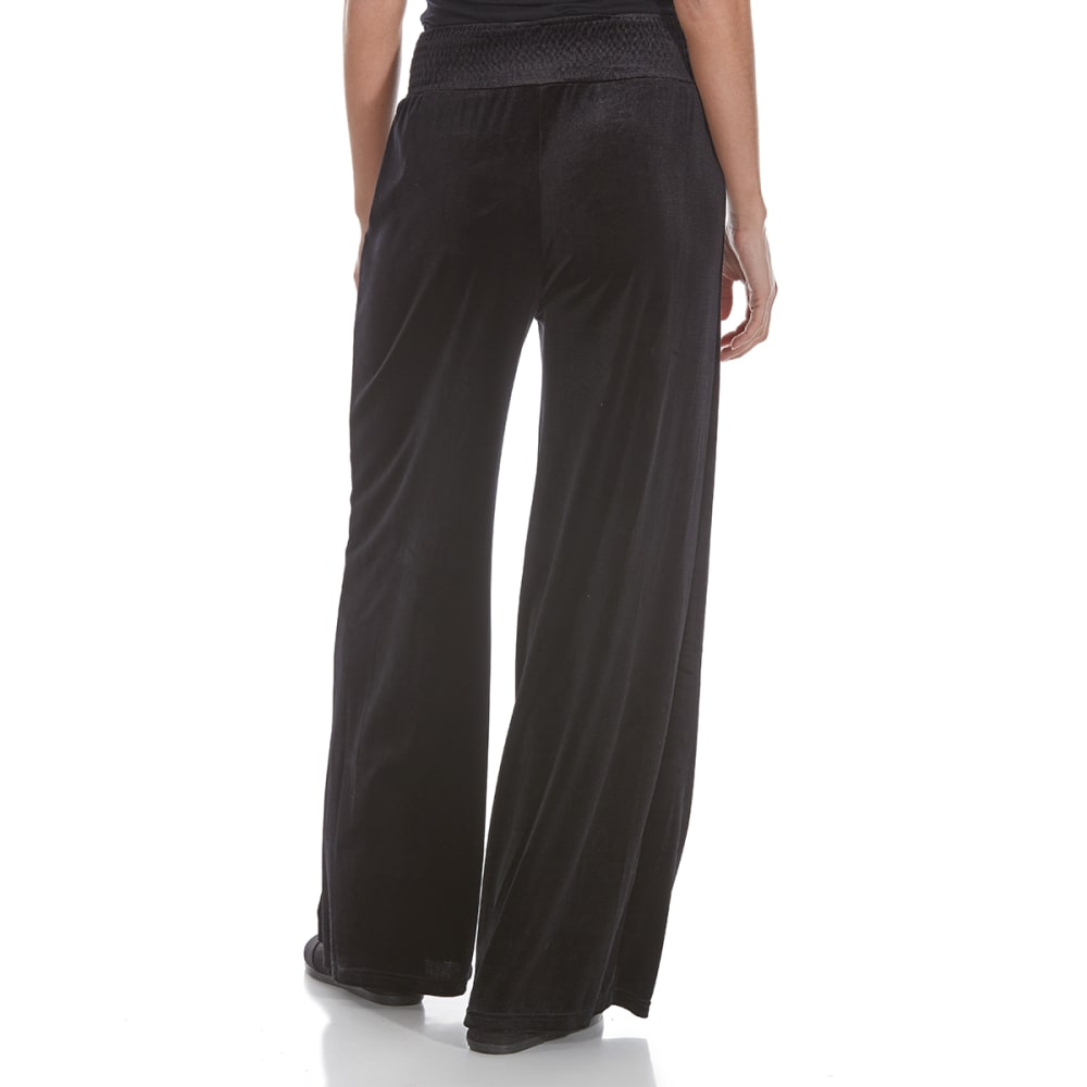 CRIMSON IN GRACE Women's Smock Waist Velvet Pants - BLK-BLACK