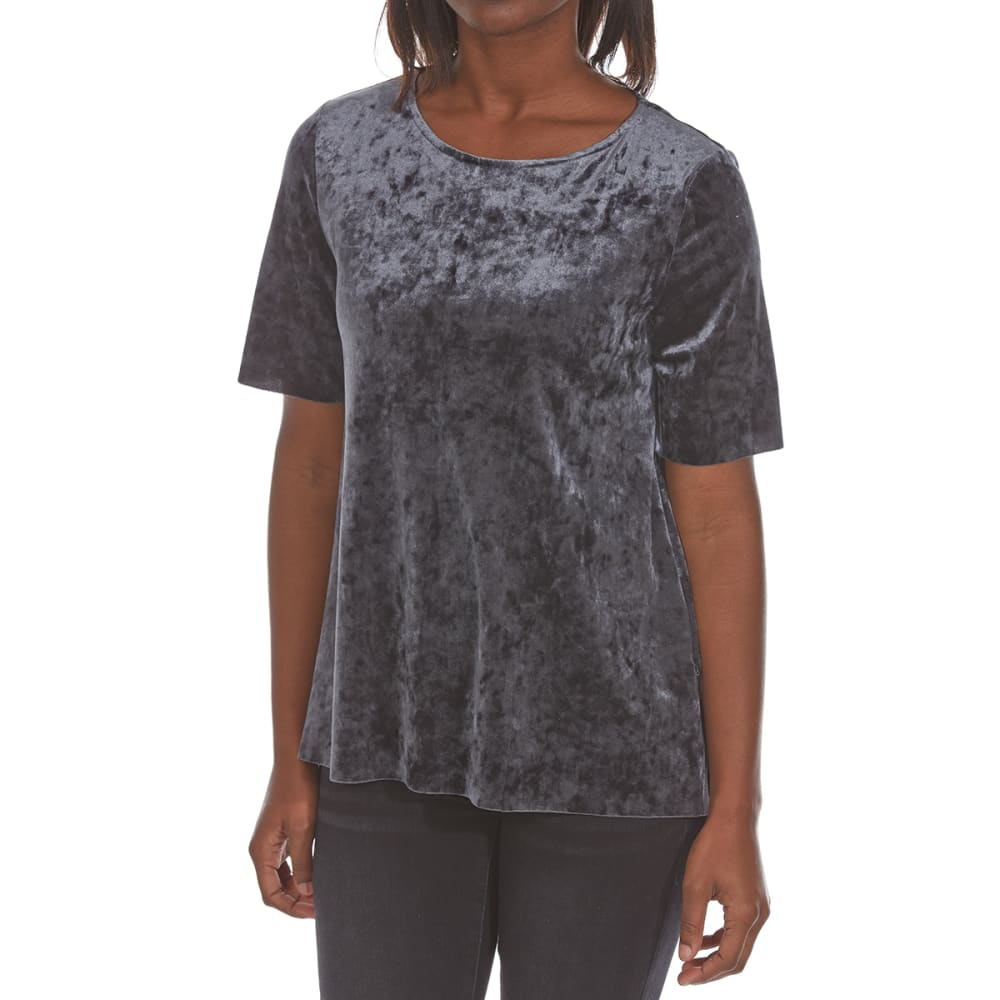 Crimson In Grace Women's Crushed Velvet Short-Sleeve Tee - Black, S