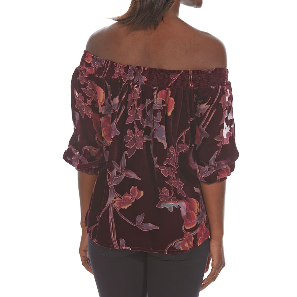 CRIMSON IN GRACE Women's Printed Burnout Off-Shoulder Top - ELP-ELDERBERRY PLUM