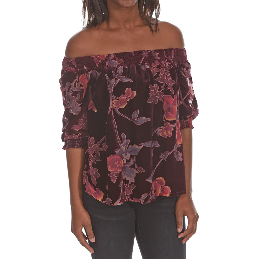 Crimson In Grace Women's Printed Burnout Off-Shoulder Top - Purple, S