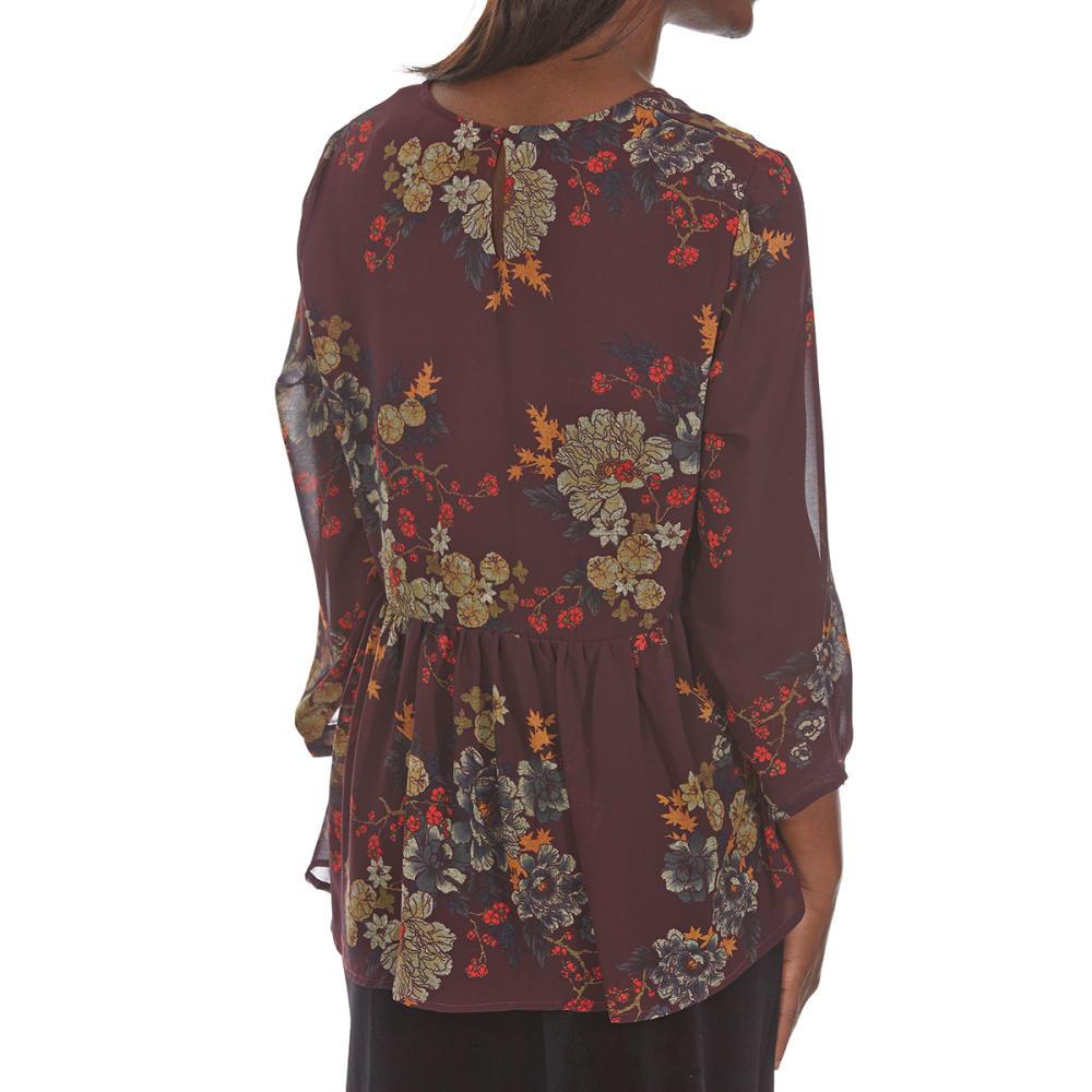 CRIMSON IN GRACE Women's Floral Woven Crochet Trim Long-Sleeve Top - ELP-ELDERBERRY PLUM