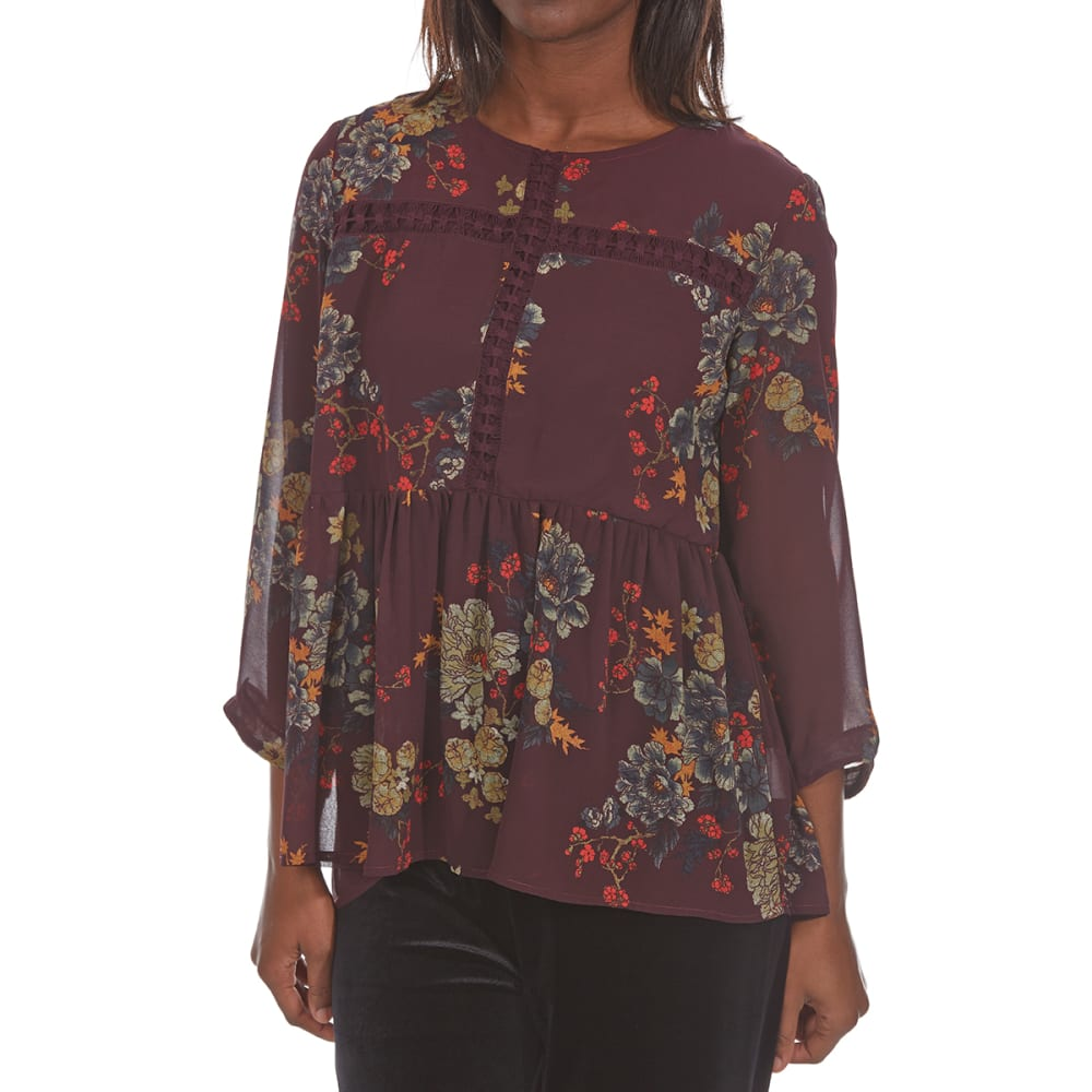 CRIMSON IN GRACE Women's Floral Woven Crochet Trim Long-Sleeve Top - ELP-ELDERBERRY PLUM