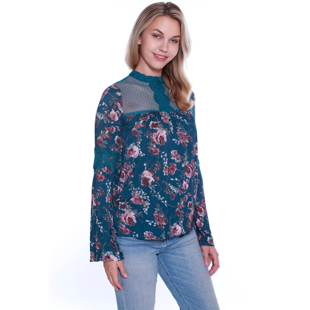 TAYLOR & SAGE Juniors' Floral Crochet Trim Long-Sleeve Top - NLA-NIGHT LAKE