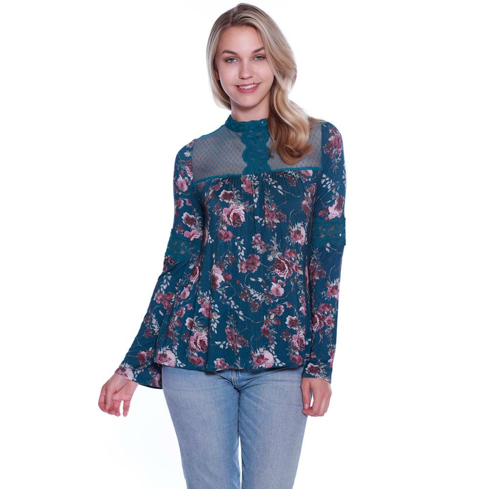 TAYLOR & SAGE Juniors' Floral Crochet Trim Long-Sleeve Top S