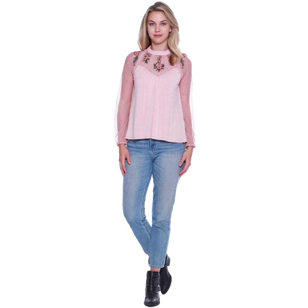 TAYLOR & SAGE Juniors' Mesh Embroidered Yoke Long-Sleeve Top - HEP-HEAVENLY PINK