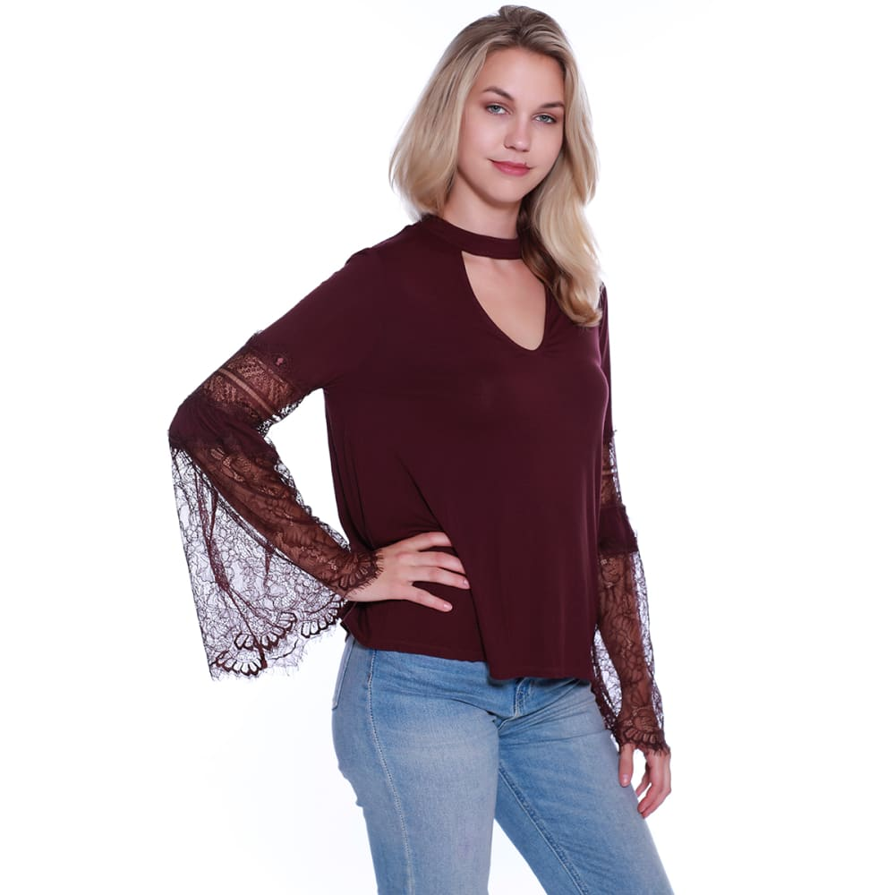 TAYLOR & SAGE Junior's Gigi Lace Bell Sleeve Top - BBA-BERRY BARK