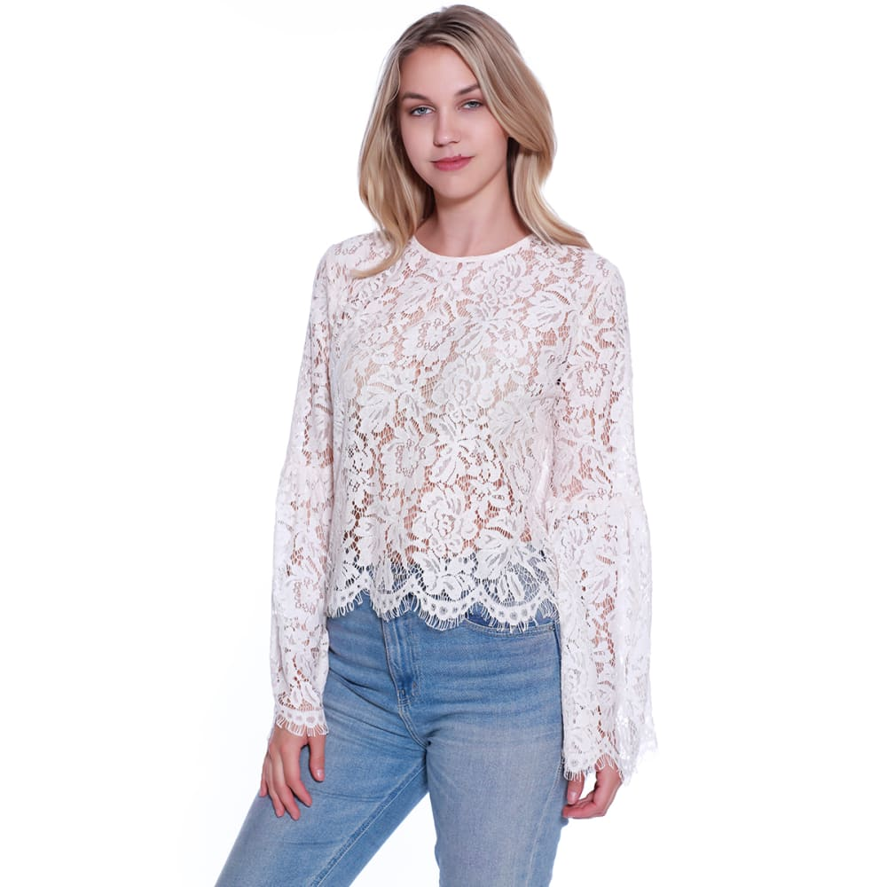 TAYLOR & SAGE Juniors' Eyelash Lace Scallop Hem Top - NAT-NATURAL