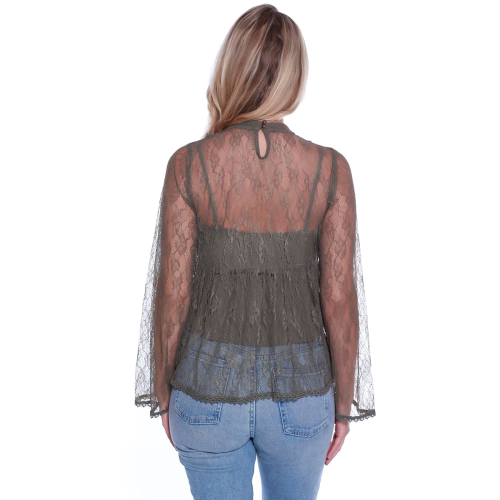 TAYLOR & SAGE Juniors' Allover Lace Gigi Babydoll Top - WOL-WILLOW OLIVE
