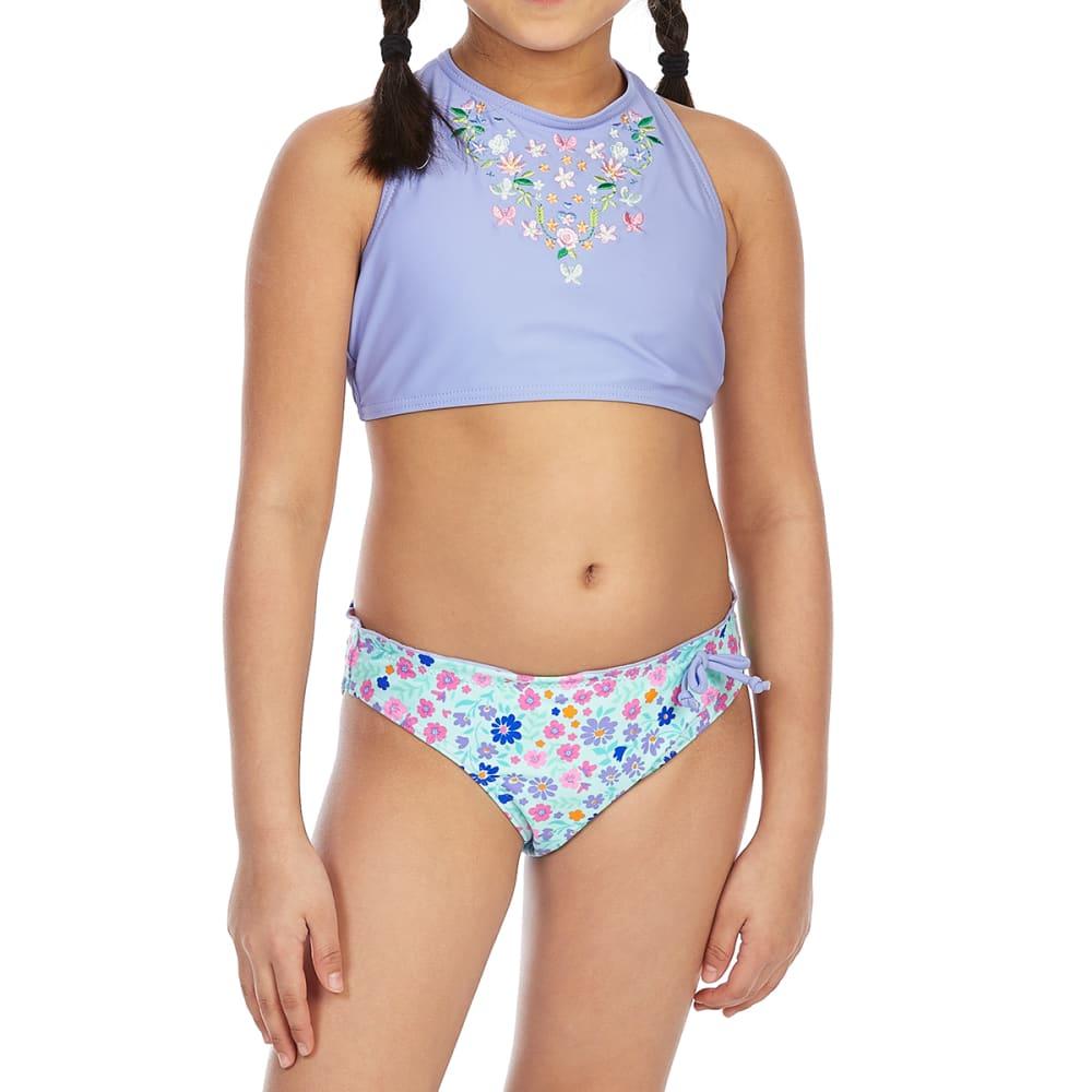 VIGOSS Big Girls' High-Neck Embroidered Tankini Set 14