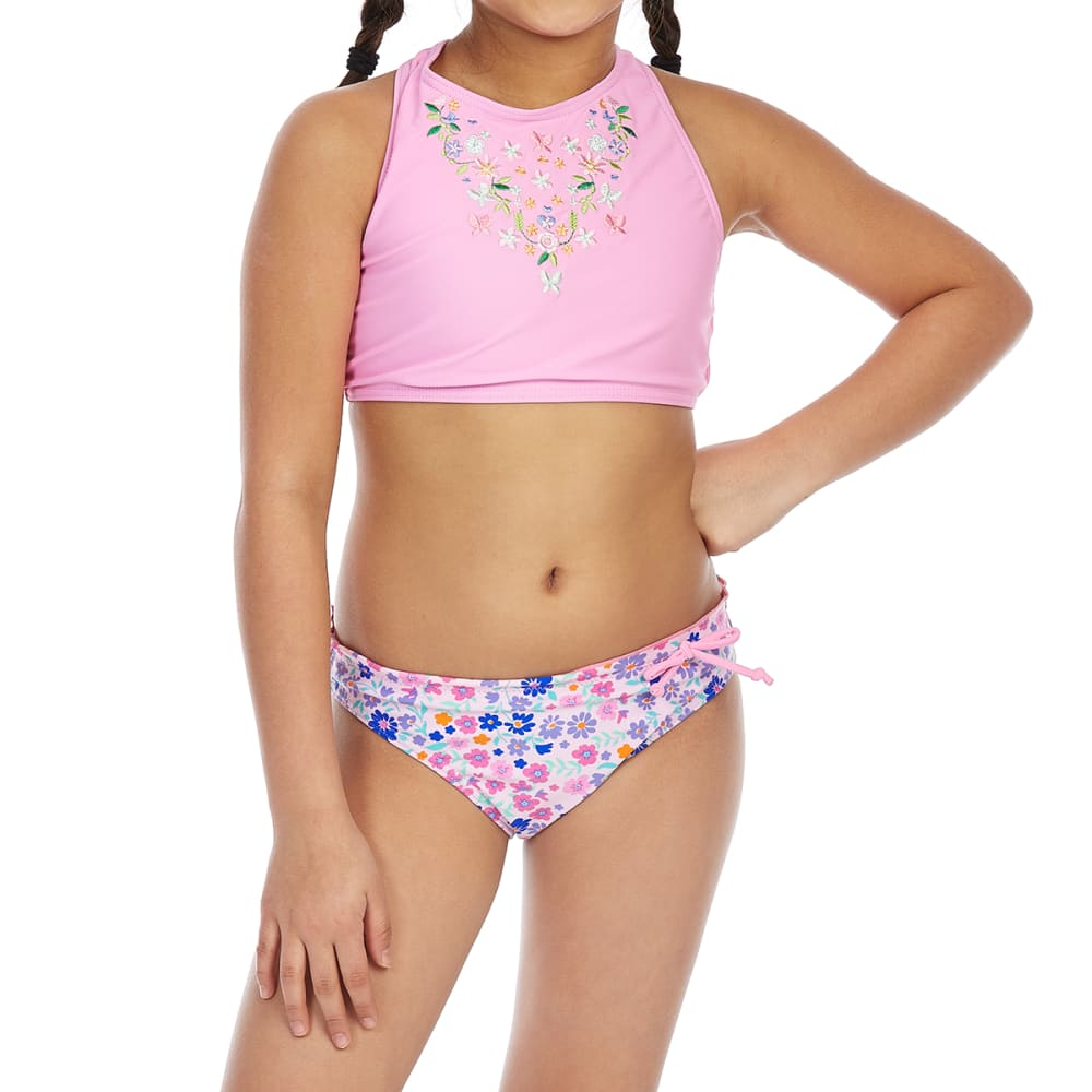VIGOSS Big Girls' High-Neck Embroidered Tankini Set - PINK COMBO