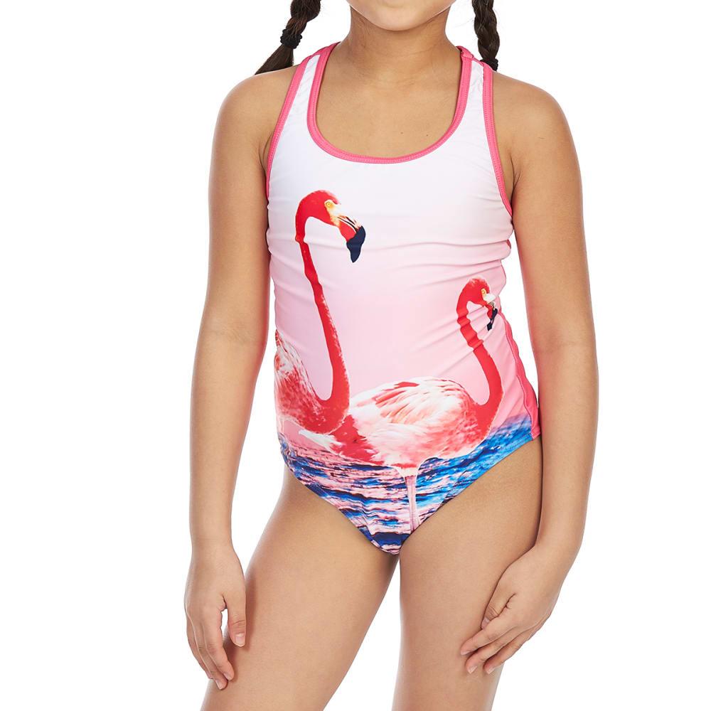 VIGOSS Big Girls' Flamingo Racerback One-Piece Swimsuit - PINK COMBO