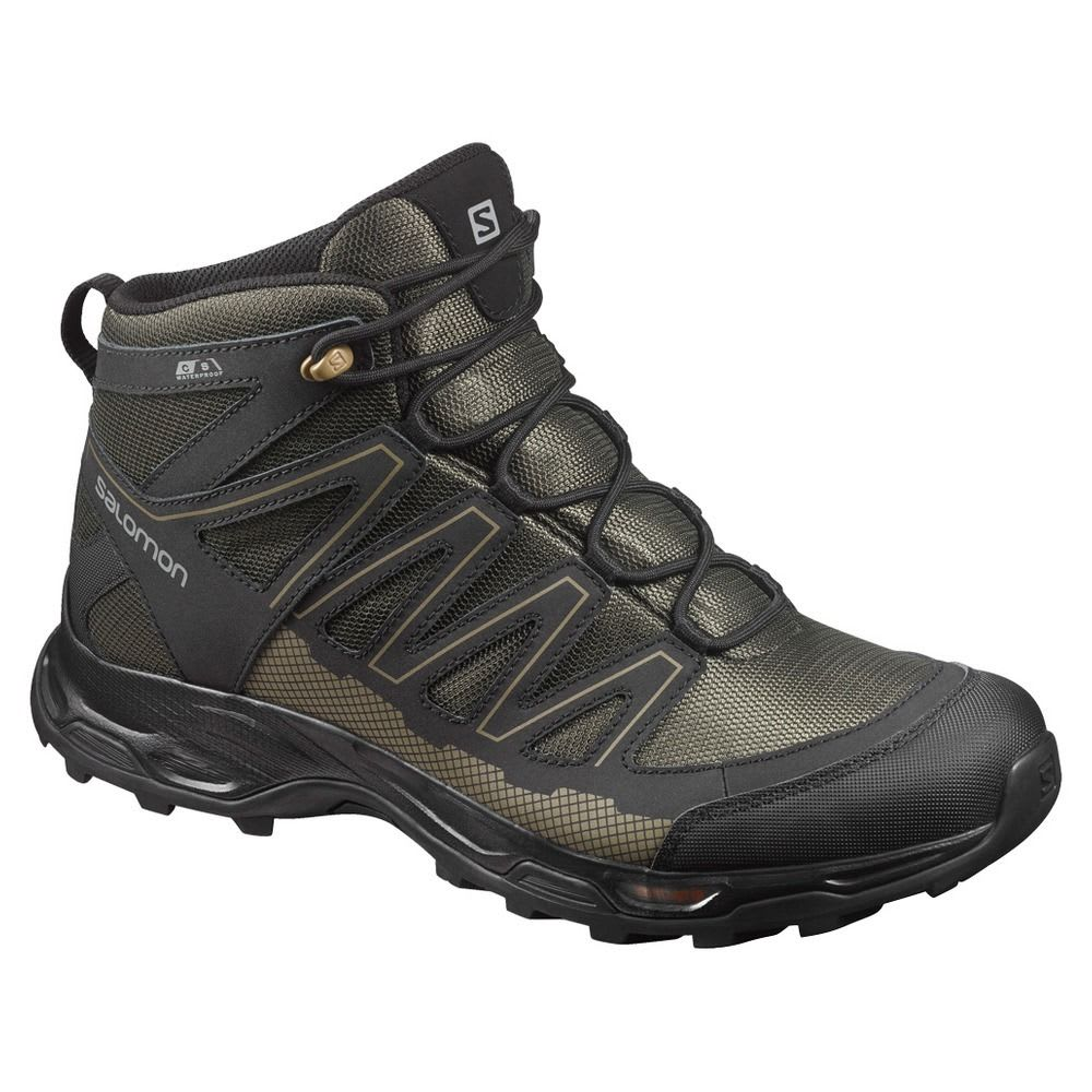 SALOMON Men's Pathfinder Mid ClimaShield Waterproof Hiking Boots, Deep Depths/Black/Gothic Olive - DEEP DEPTHS