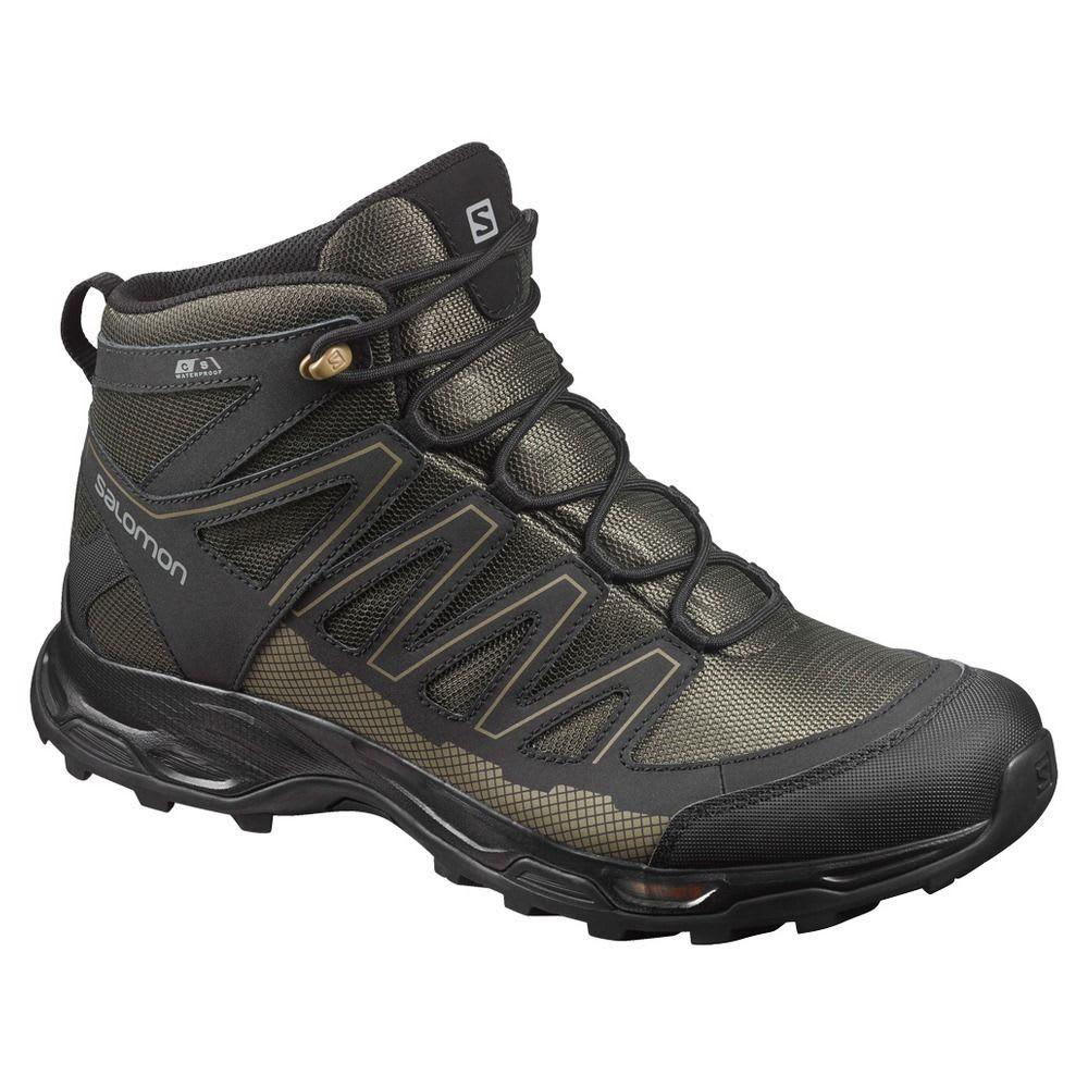 SALOMON Men's Pathfinder Mid ClimaShield Waterproof Hiking Boots, Deep Depths/Black/Gothic Olive - DEEP DEPTHS