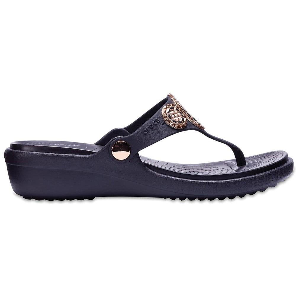 CROCS Women's Sanrah Embellished Diamante Wedge Flip Sandals - BLACK/ROSE GOLD -080