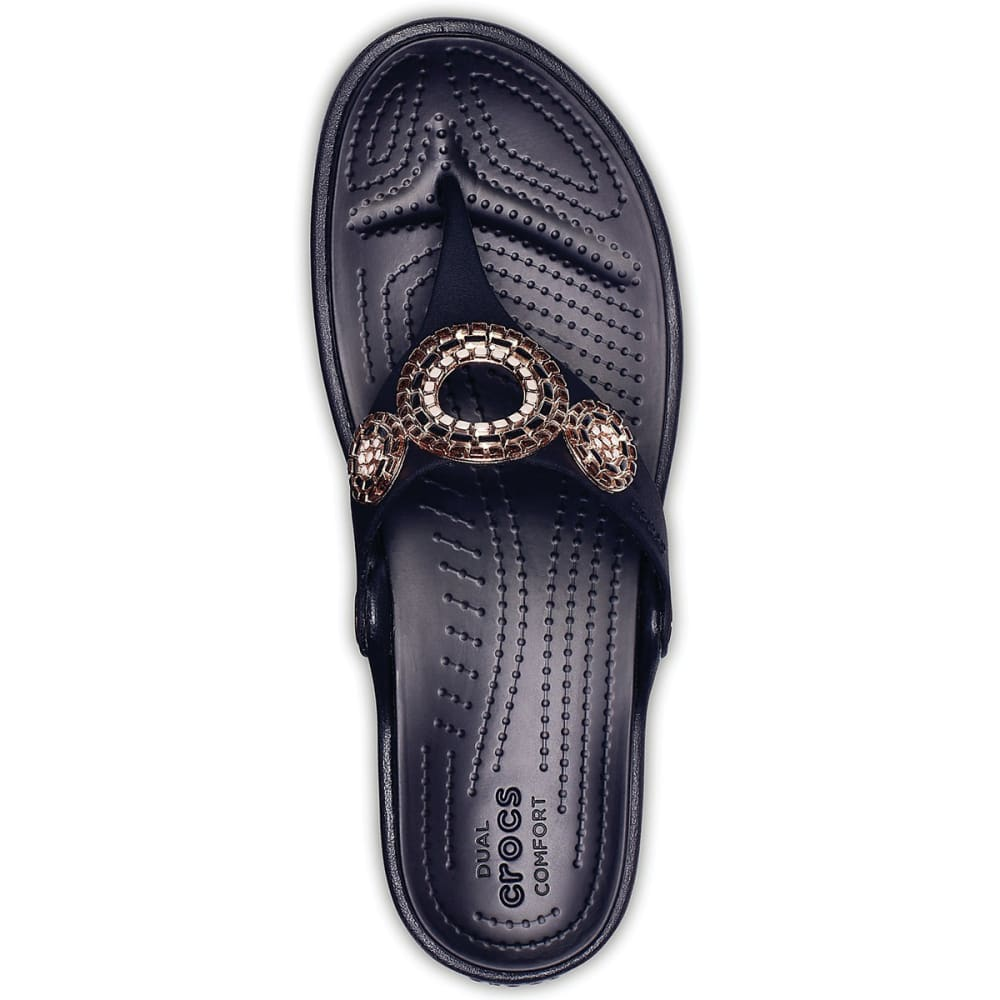CROCS Women's Sanrah Embellished Diamante Wedge Flip Sandals - BLACK/ROSE GOLD -080