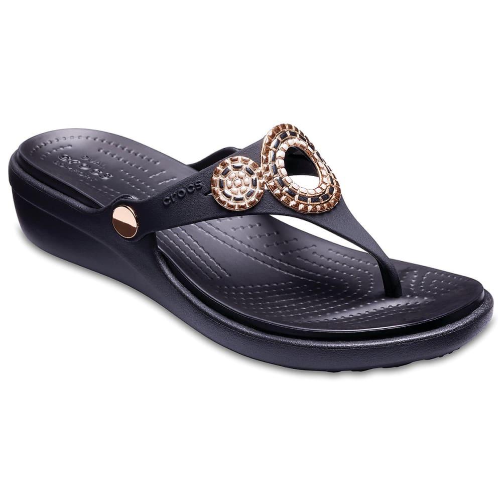 Crocs Women's Sanrah Embellished Diamante Wedge Flip Sandals - Black, 6