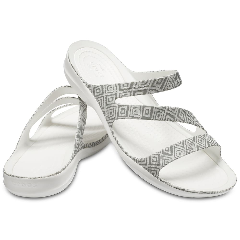 CROCS Women's Swiftwater Graphic Sandals - GREY/WHITE-0DS