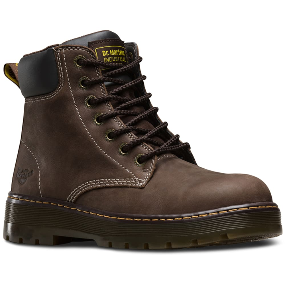Dr. Martens Men's 6 In. Winch Steel Toe Work Boots, Dark Crazy Horse Brown