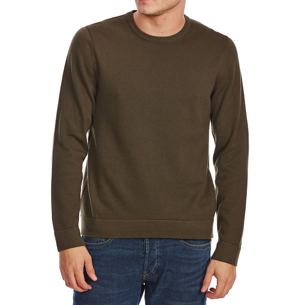 G.H. BASS & CO. Men's Long-Sleeve Crew Sweater with Elbow Patches - OLIVE JUICE-316