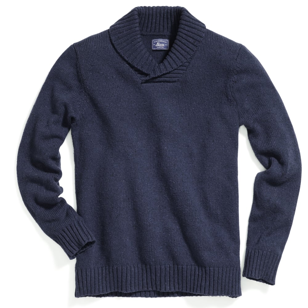 G.H. BASS & CO. Men's Donegal Shawl Collar Sweater - CADET NVY-438