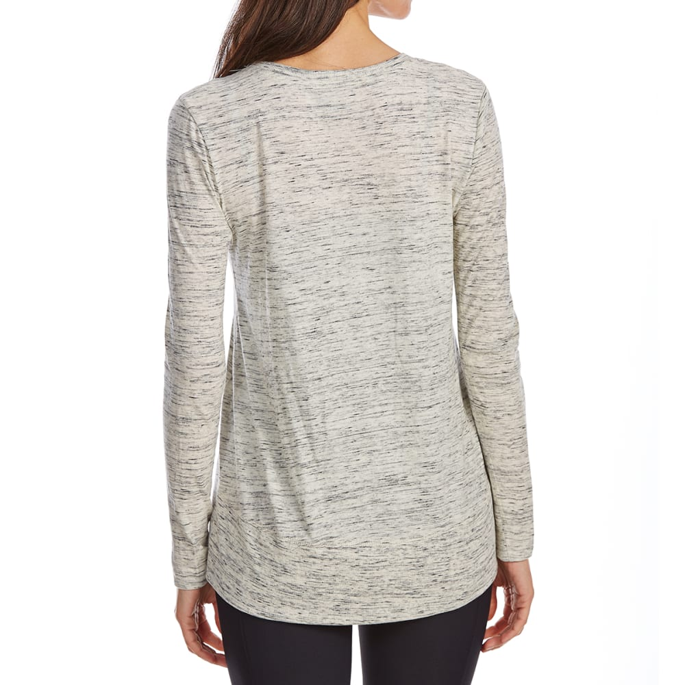 G.H. BASS & CO. Women's Mixed Media V-Neck Long-Sleeve Top - 041-MERCURY HEATHER