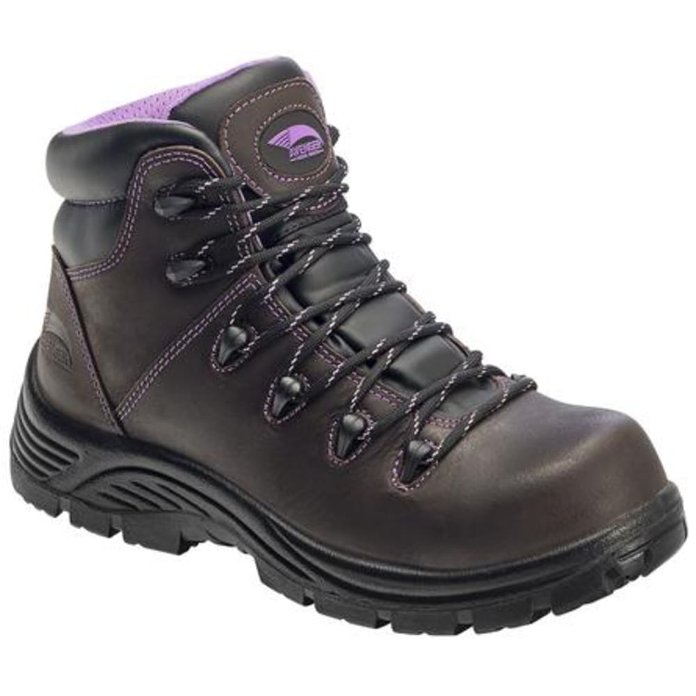 Avenger Women's 6 In. 7123 Composite Toe Waterproof Work Boots, Dark Brown, Wide