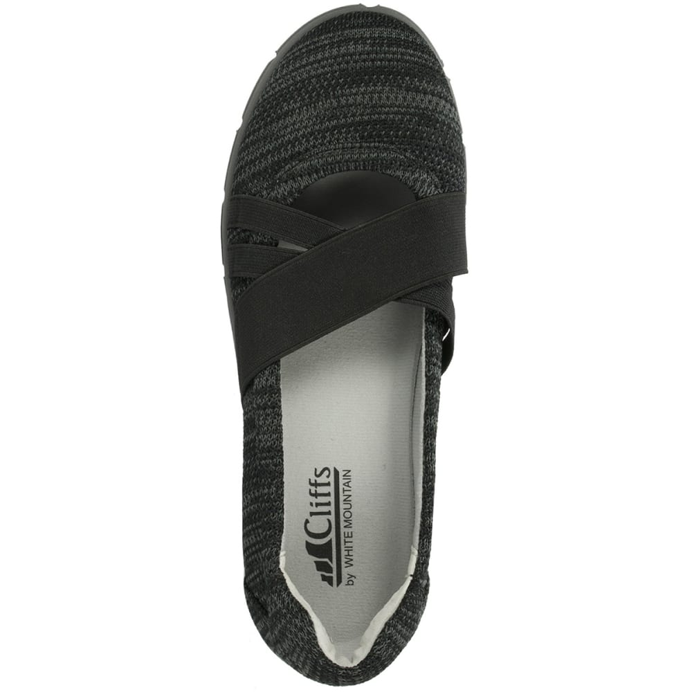 WHITE MOUNTAIN Women's Felice Fabric Elastic Flats, Black - BLACK
