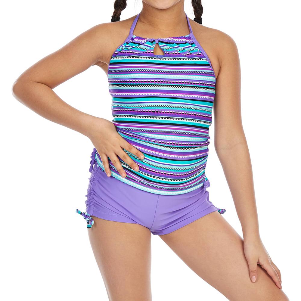 FREE COUNTRY Big Girls' Striped Adjustable Halter Neck Tankini Set - ULTRAVIOLET