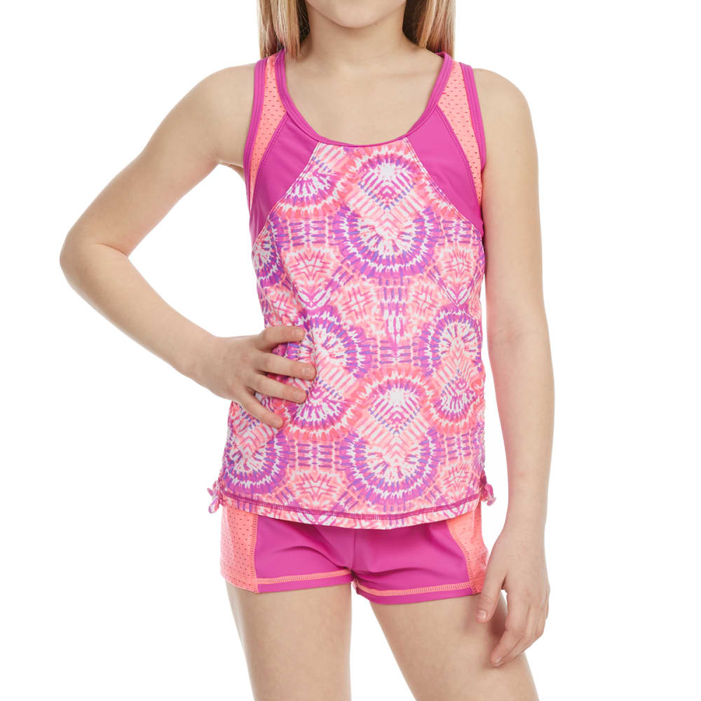 FREE COUNTRY Girls' Sunburst Side-Adjustable Tankini and Short Swim Set - RASPBERRY/PINK BLUSH