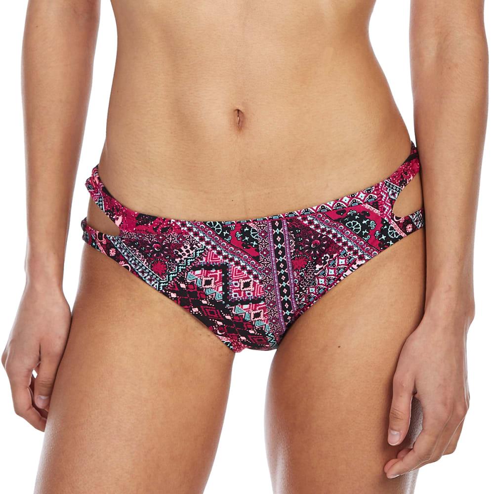 ISLAND SOUL Juniors' Zig Zag Patchwork Cutout Bikini Bottoms L