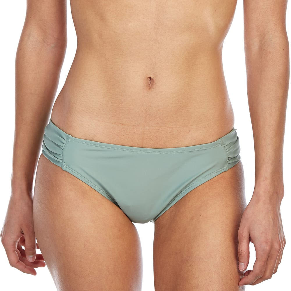 ISLAND SOUL Juniors' Side Tab Bikini Bottoms - OLIVE