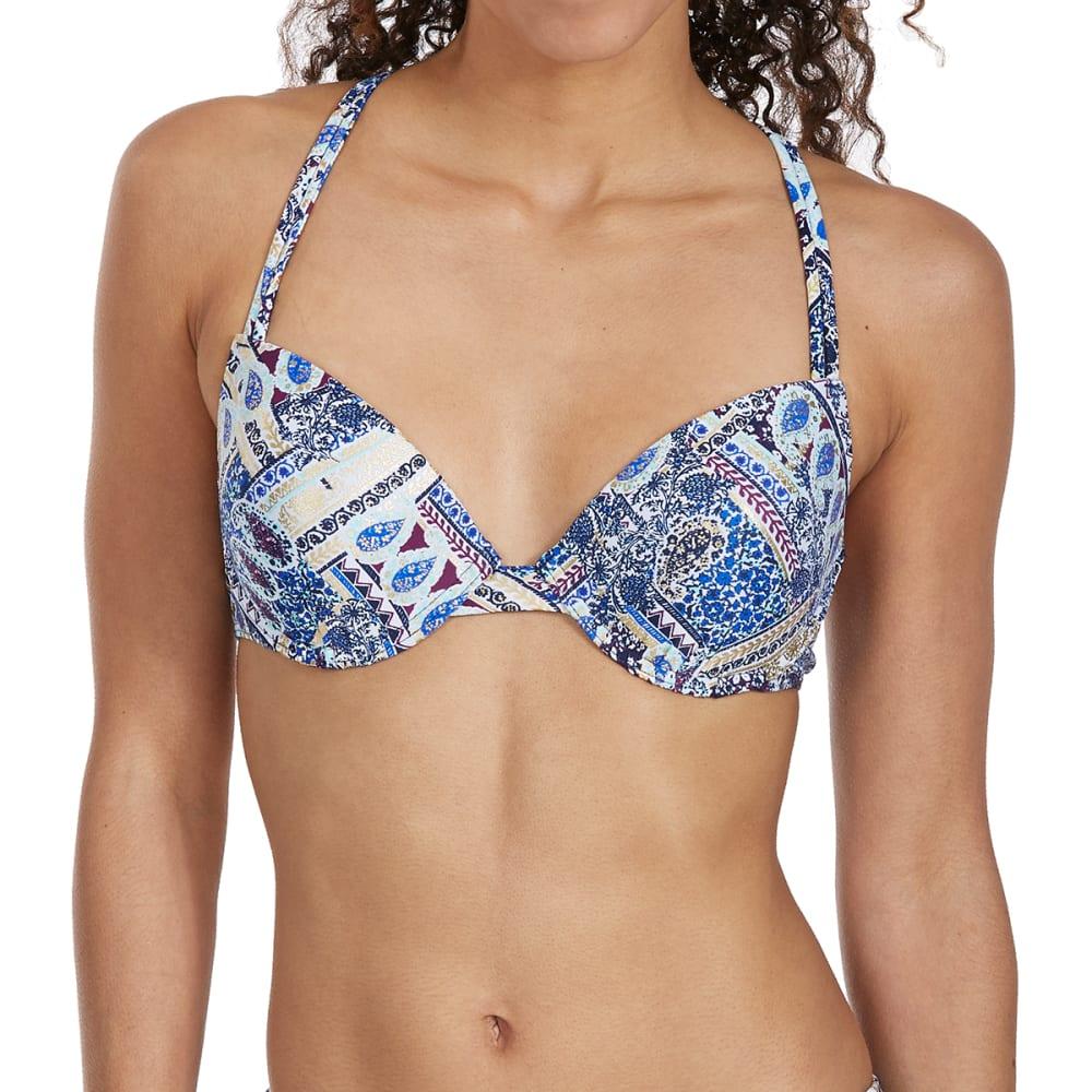 ISLAND SOUL Juniors' Poolside Paisley Macramé Push-Up Bikini Top - MULTI