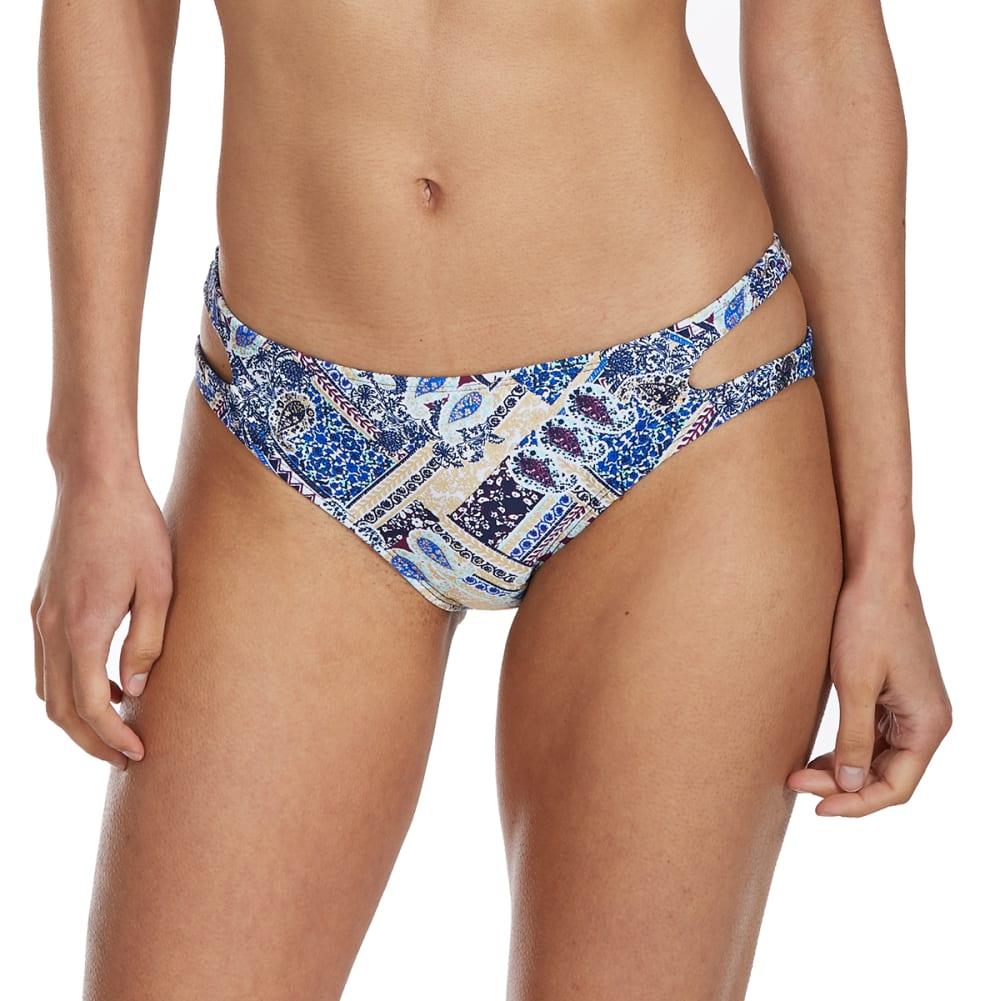 ISLAND SOUL Juniors' Poolside Paisley Cutout Bikini Bottoms - MULTI